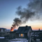black smoke caused by fire